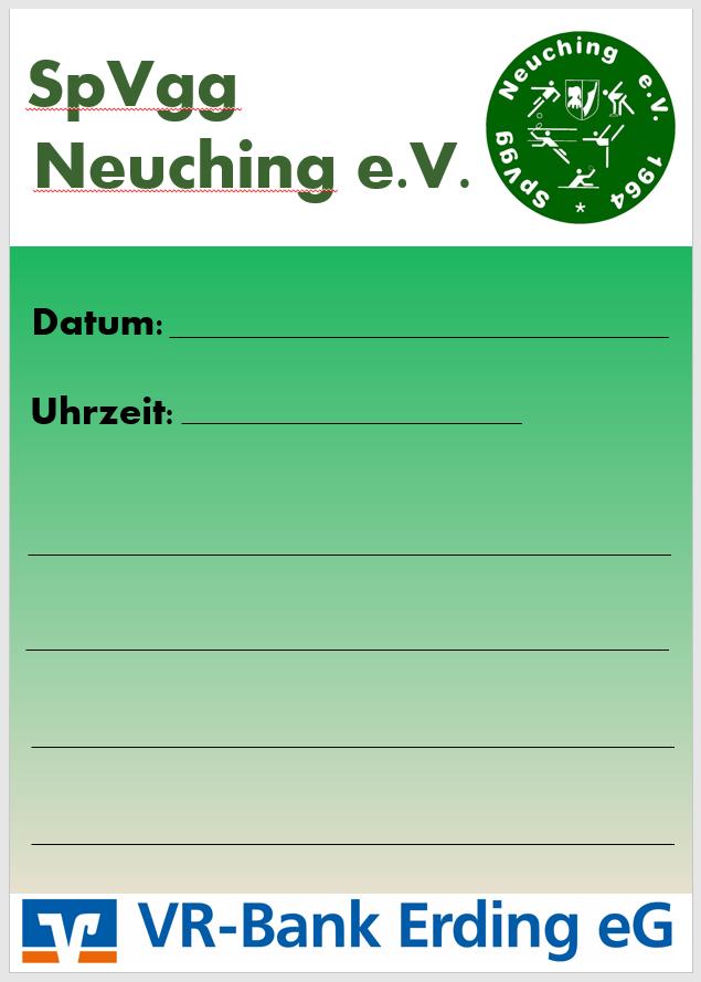 Spielplakate SpVgg Neuching und VR-Bank Erding eG