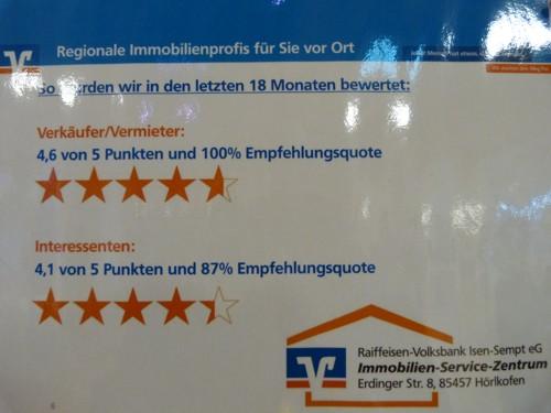 Bewertung des Immobilien und Servicezentrum der Raiffeisen-Volksbank Isen-Sempt eG