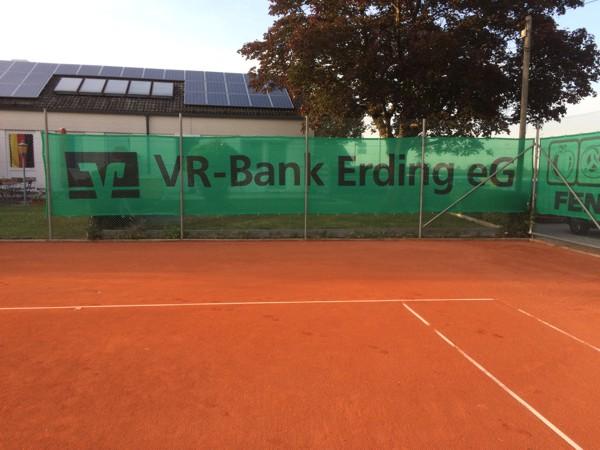 Sichtblende Tennis SV Wörth VR-Bank Erding eG